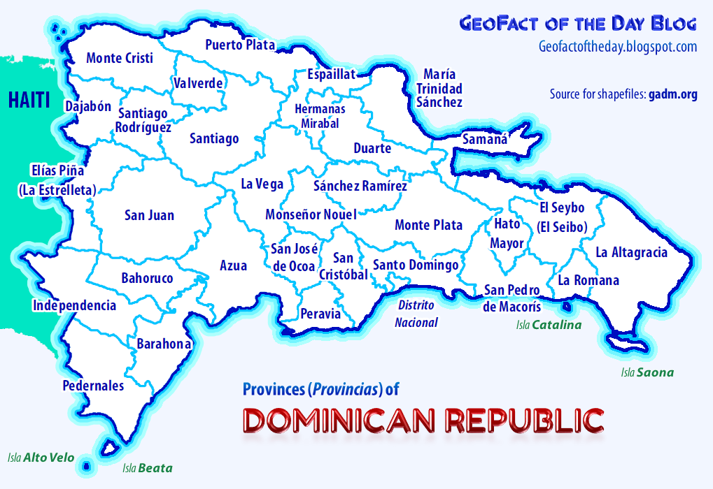 GeoFact Of The Day Dominican Republic Provinces - Map of the dominican republic