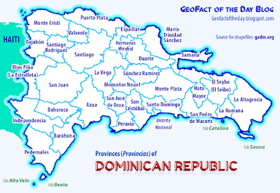 Map of Dominican Republic province territories