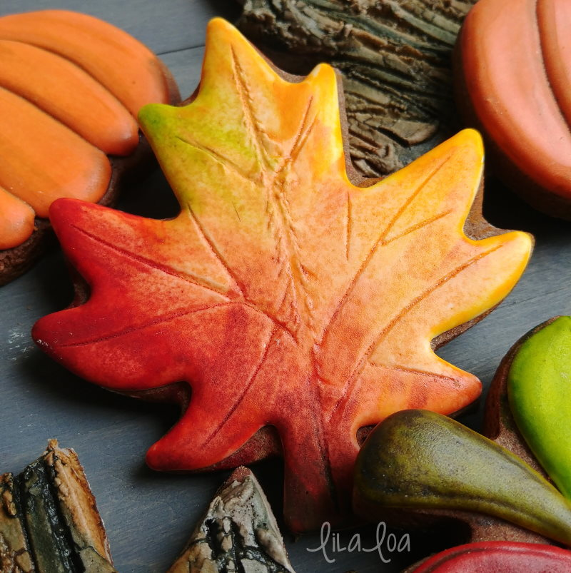 Painted fall leaf decorated chocolate sugar cookie