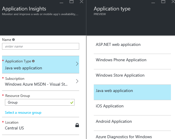 Enabling Microsoft Application Insights for JMX monitoring of a