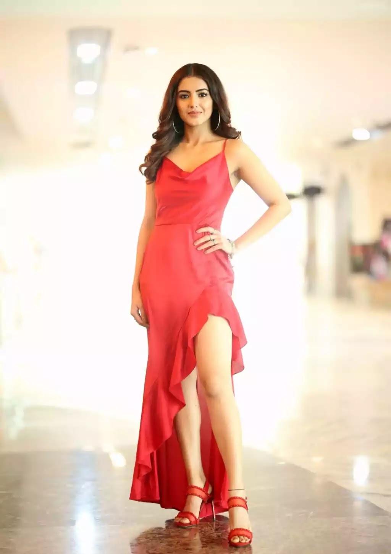 malvika-sharma-hot-looks-red-asymmetrical-dress