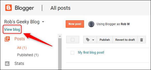 """خيار """"عرض المدونة""""."""
