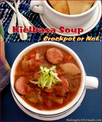 Kielbasa Soup, Crockpot or Not: this filling cold weather soup can be made in the slow cooker or on the stovetop. | Recipe developed by www.BakingInATornado.com | #recipe #soup