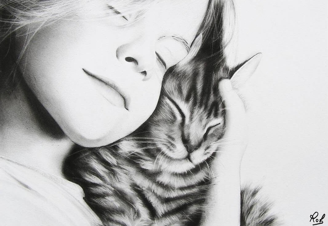 01-The-Girl-and-the-kitten-Roberto-Matteazzi-Animal-Drawings-in-Black-and-White-Charcoal-Portraits-www-designstack-co