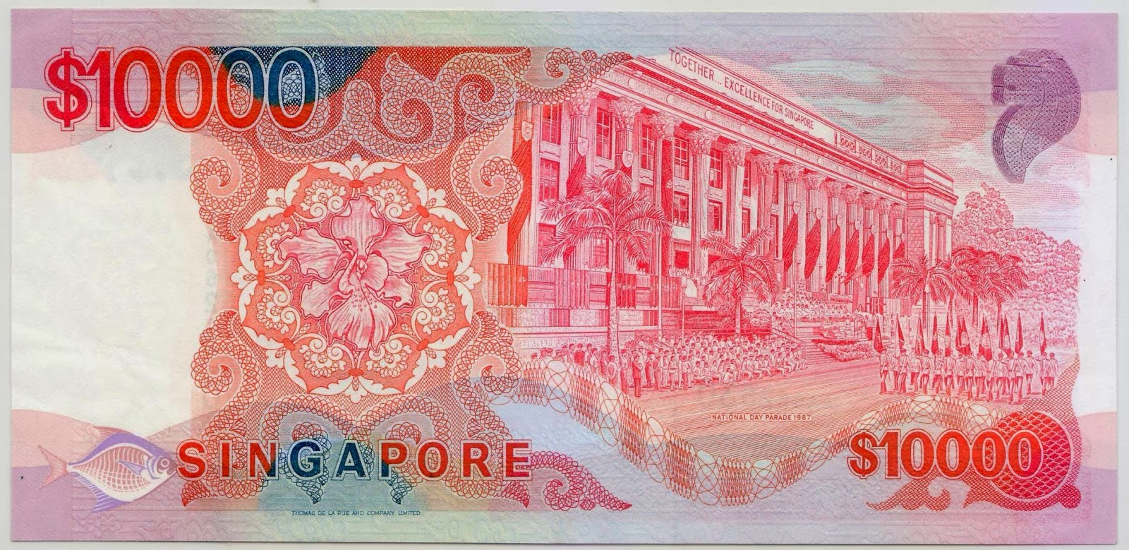 Singapore ten thousand dollar note bill