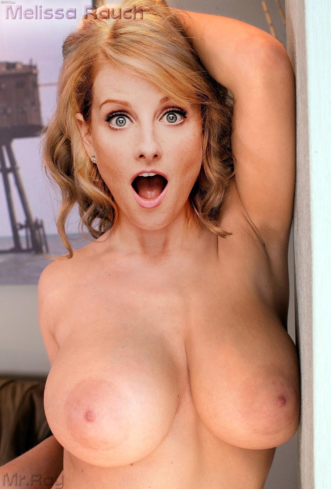 Big boobs Melissa Rauch nude tits sexy naked nipple fake porn