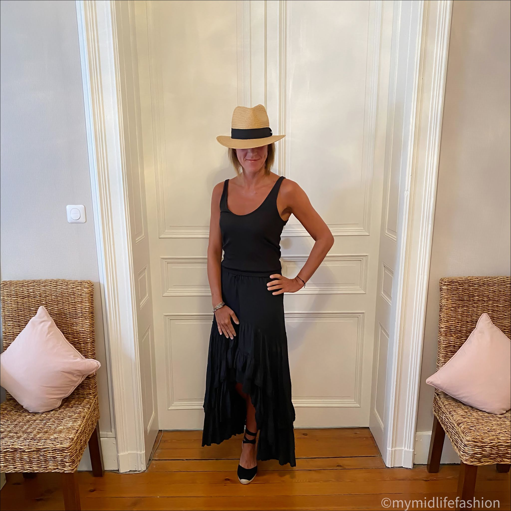 my midlife fashion, h and m Panama hat, Isabel Marant dipped hem skirt, and. other stories ribbed vest top, boden Cassie espadrille wedge sandals