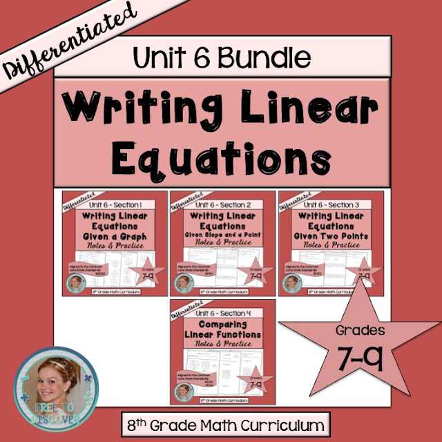 Teaching students how to write linear equations is my favorite unit.  There's ample opportunity for exploration and discovery, applications, and extensions!