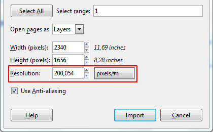 Import PDF in GIMP