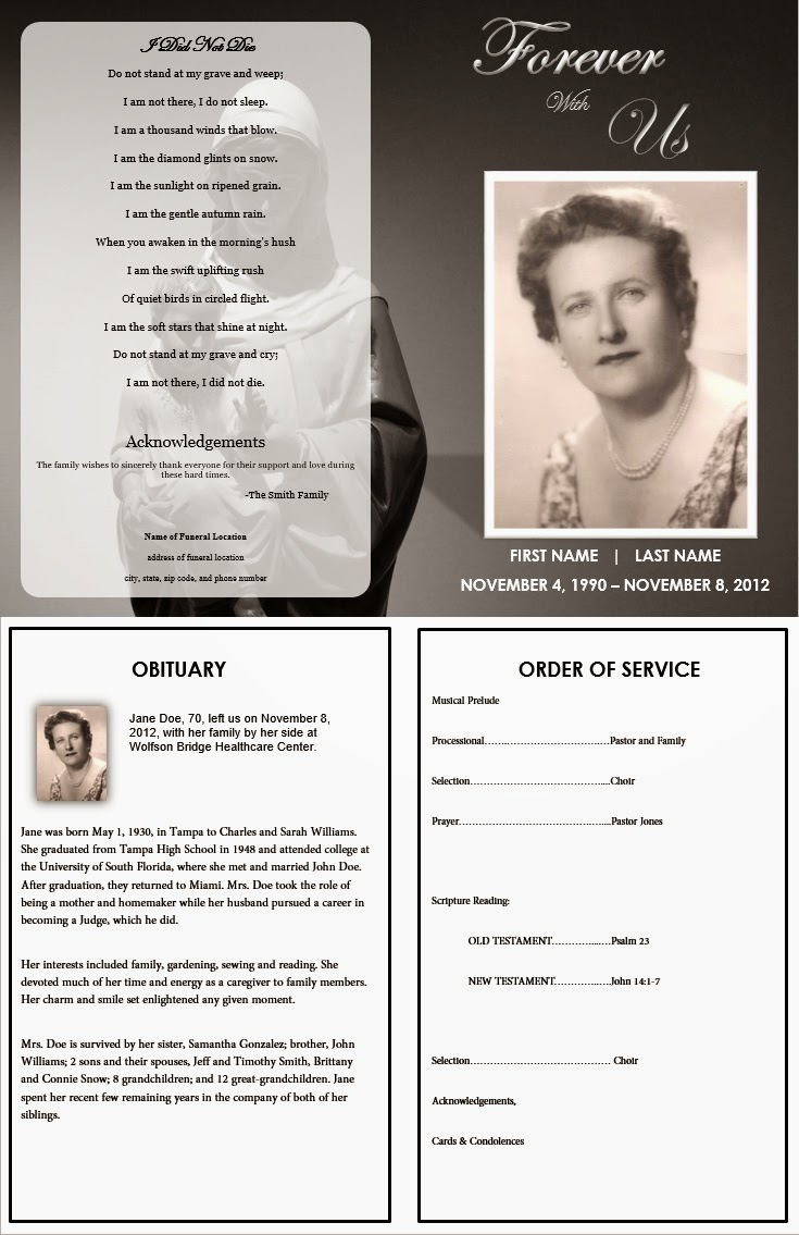 memorial service template for mom