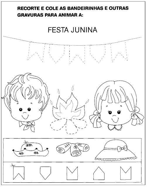 Atividades sobre Festa Junina para Educação Infantil para imprimir, recortar, colar e colorir