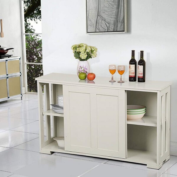 Yaheetech Antique White Sliding Door Buffet Sideboard Stackable Cabinets with Adjustable Shelf Kitchen Dining Room Storage Cupboard