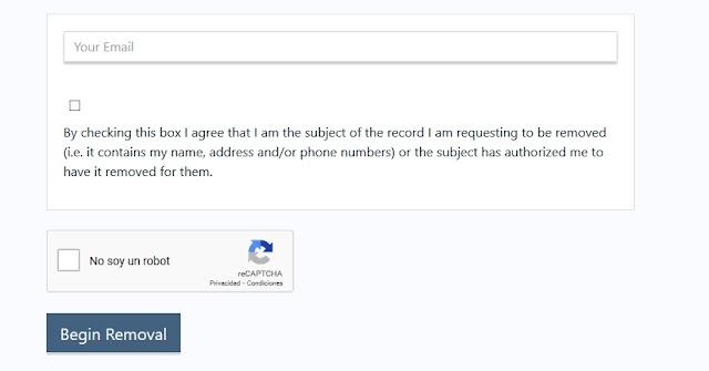 aceptar los terminos para borrar la informacion de true people search