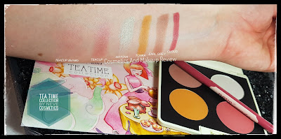 Neve Cosmetics - Tea Time Collection - swatches - da sinistra a destra: Teacup, Matcha, Tonka, Earl Grey, Cloud