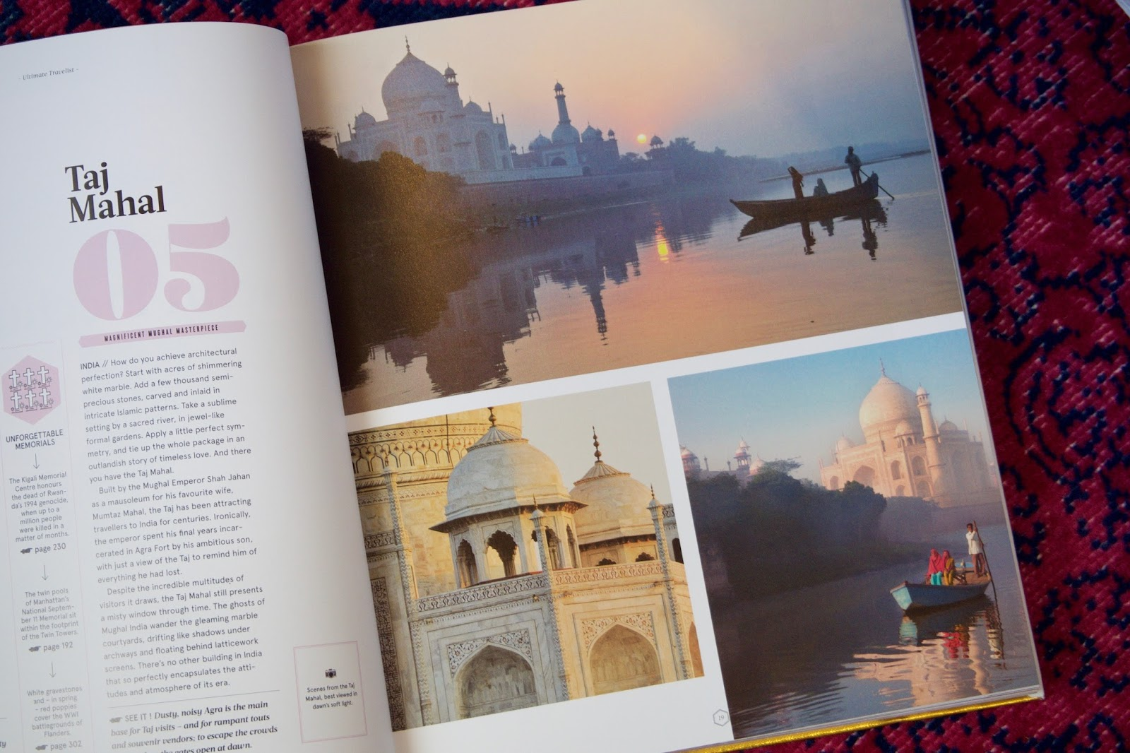 6 destinations on my travel wishlist, Cambodia, India, Slovenia, Jordan, Norway, Russia, Temples of Angkor Wat, Taj Mahal, Petra, Geirangerfjord, Church on the spilled blood, Lake Bled, Lonely Planet Ultimate Travelist