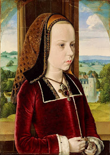 Portrait of Margaret of Austria (Portrait of a Young Princess) by Jean Hey in 1491, painting in Northern Renaissance style