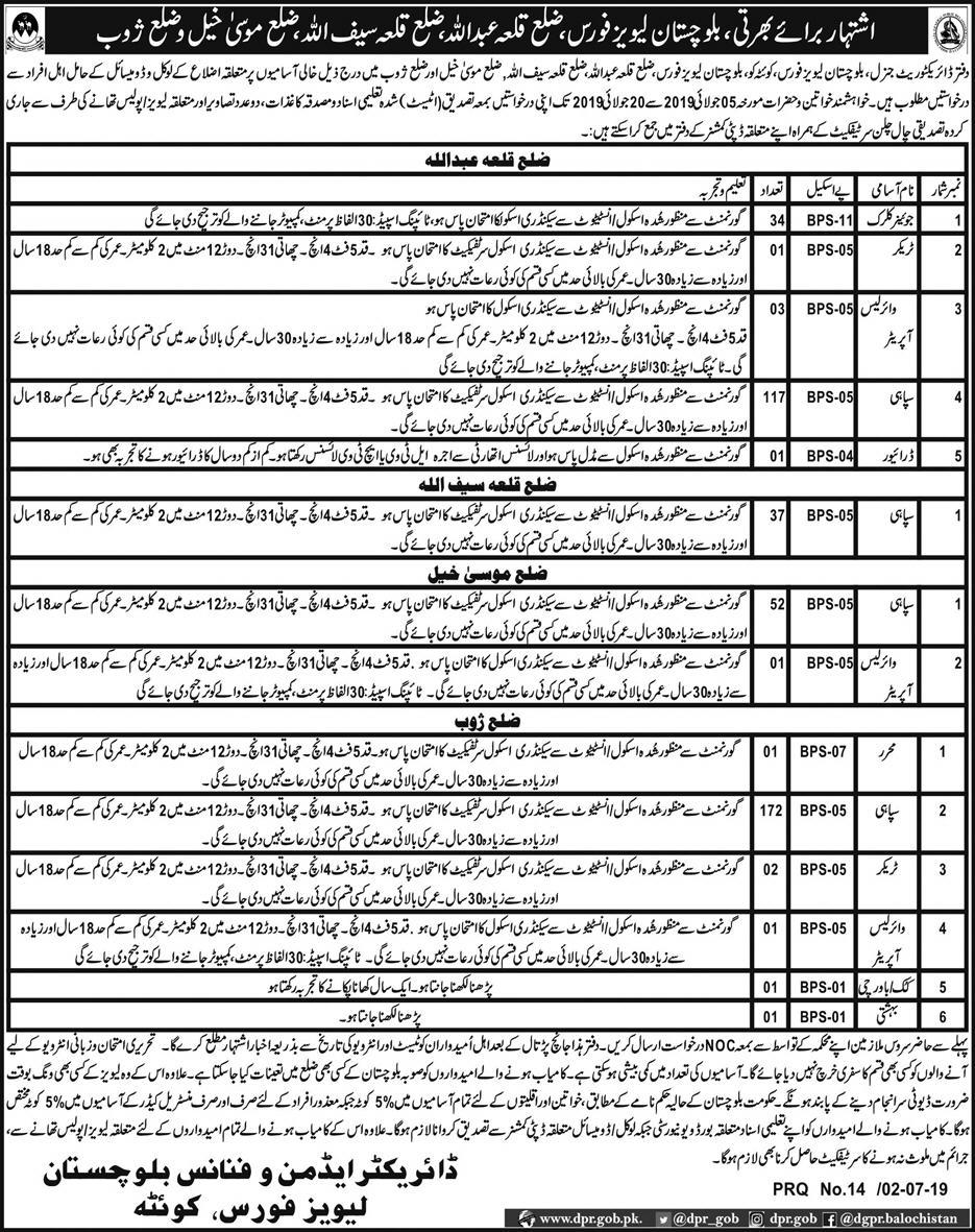 Advertisement for Balochistan Levies Force Jobs
