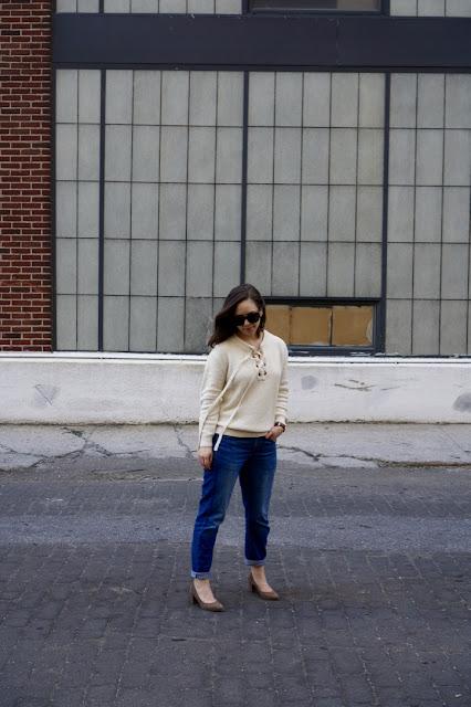 Lace-up sweater, block heeled pumps, boyfriend jeans