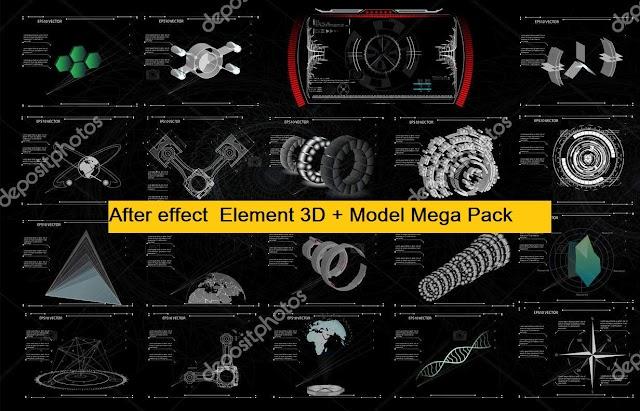 After effect  Element 3D + Model Mega Pack ດາວໂຫລດຟຣີ!!!