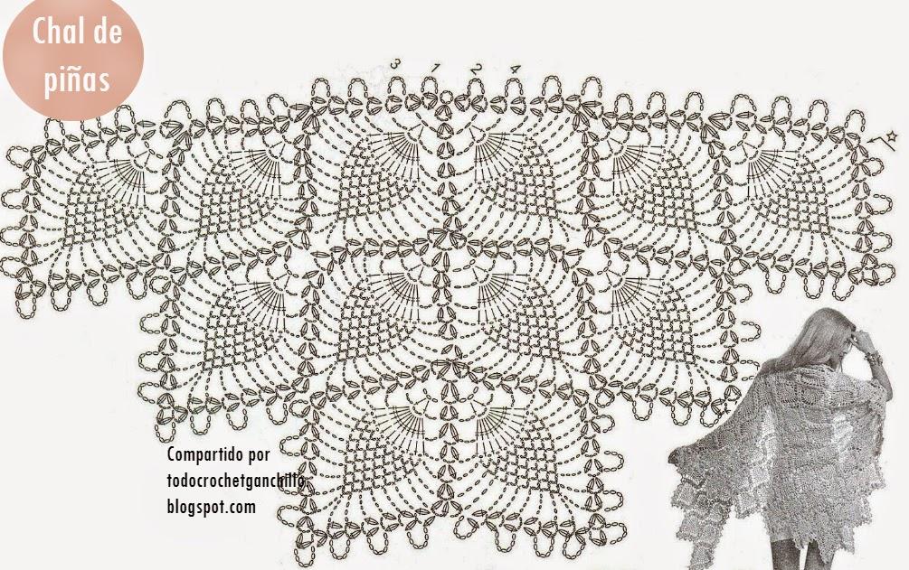 Hermoso chal en punto piña | Todo crochet