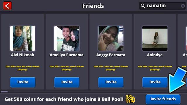 cara invite teman di 8 ball pool mod
