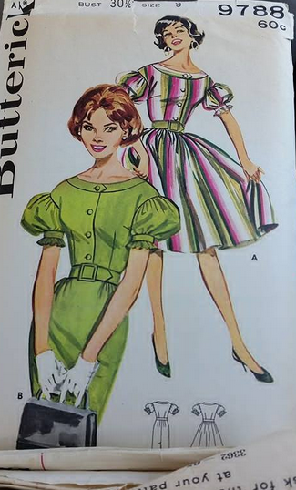 vintage puff sleeve full skirt dress sewing pattern