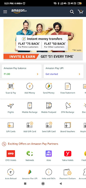(Earn Money) Amazon Invite and earn ₹31 per user and extra ₹50 on first Money Transfer (Maha Loot) 2
