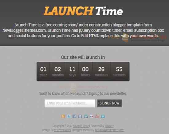 Launch Time Responsive design For Business, commercial blog Black, Grey color Exclusive sign up button Elegant Minimalist Flat view without sidebar 1 Column Blogger Template Download