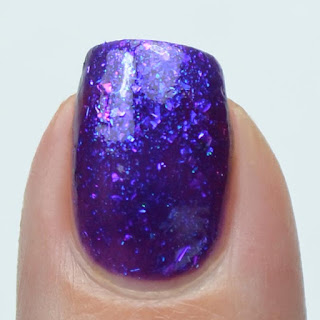purple jelly nail polish with purple flakies