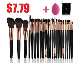 22 piece makeup brush set  extra beauty blender sponge 7