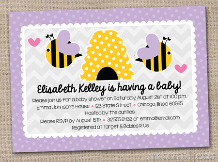Just Added To The Website Are Ble Bee Baby Shower Birthday Party Invitations In Purple Blue Yellow