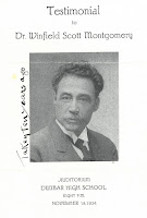 Cover of memorial service program for Winfield Scott Montgomery, including his photograph