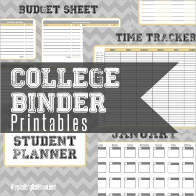 A Typical English Home College Binder Printables Organise Your Life