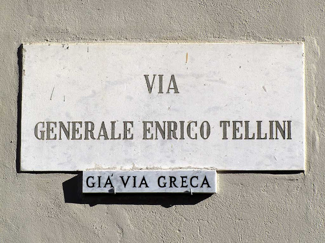 Plaque of via Generale Enrico Tellini already via Greca, Livorno