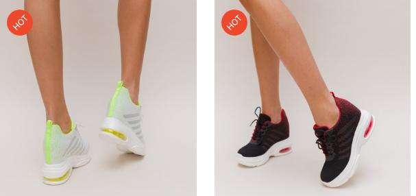 Pantofi sport negri, albi in degrade cu platforma