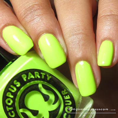 nail polish swatch of Raqueteering by indie polish maker Octopus party nail lacquer OPNL