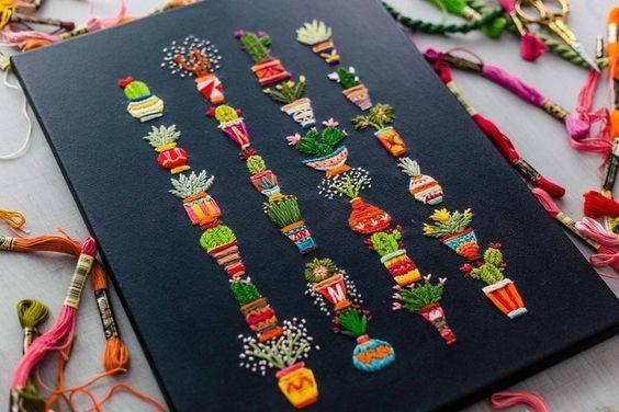kaktusy haftowane