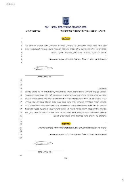 """פרוטוקול הדיון והחלטה בדיון בקשת פסילת השופט שגיא מיום 12.12.2019 , ת""""פ 14615-04-17."""
