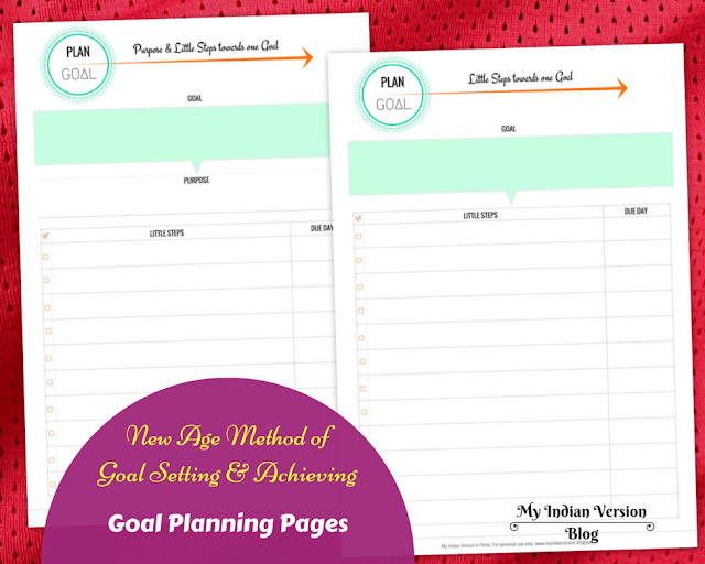Goal setting and achieving - Goal Planning Printables