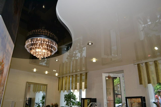 black and white stretch ceilings with luxury chandelier