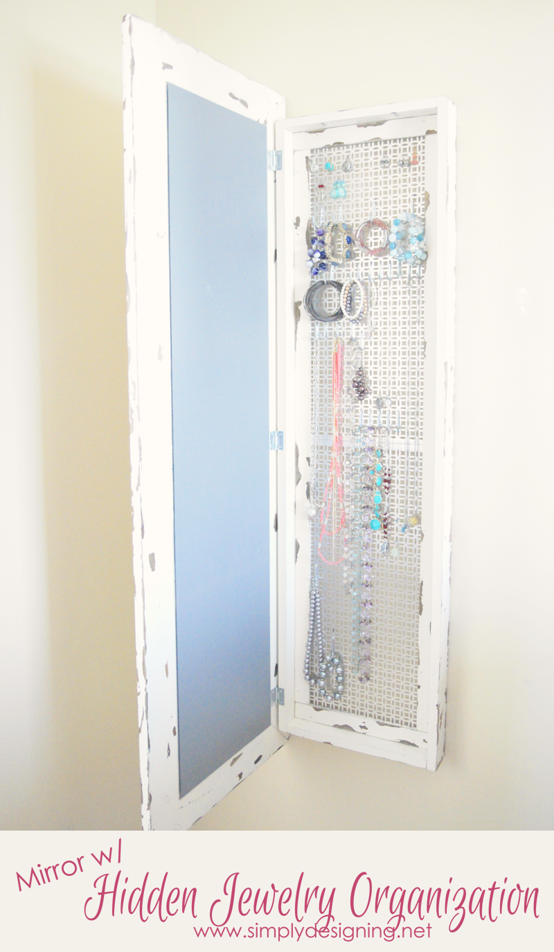 This DIY Framed Mirror with Hidden Jewelry Storage opens to reveal a surprise; hidden jewelry storage to store earrings, necklaces, bracelets and more. Make your own and save a ton of money plus it looks fantastic!