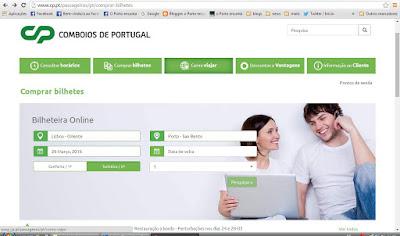 imagem do site da empresa Comboios de Portugal