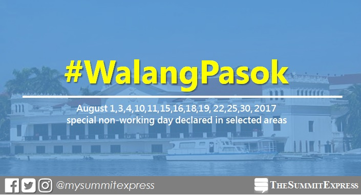 #WalangPasok: August 1, 4, 11, 15, 16, 18, 25, 2017 special holiday declared in selected areas