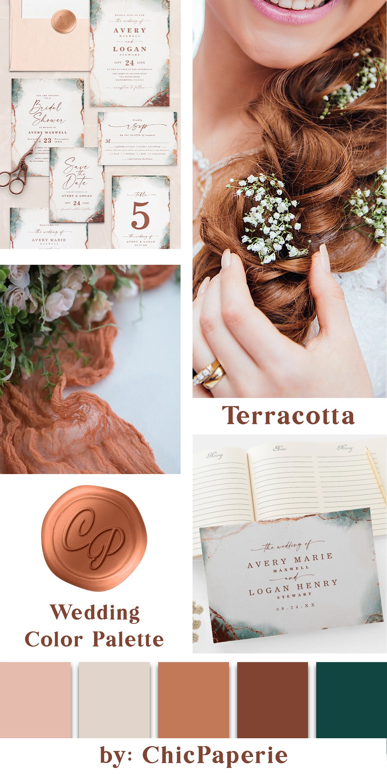 Terracotta Wedding Details, Decorations, and Color Accents