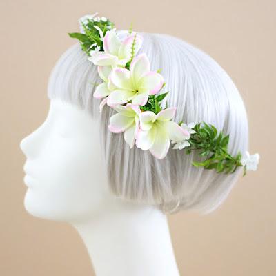 プルメリアの花冠(ピンク)-ウェディングブーケと花髪飾りairaka