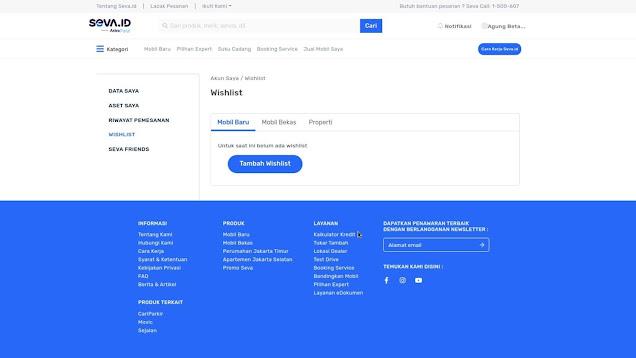 Fitur Website Seva Pusat Mobil Murah - Menu Wishlist