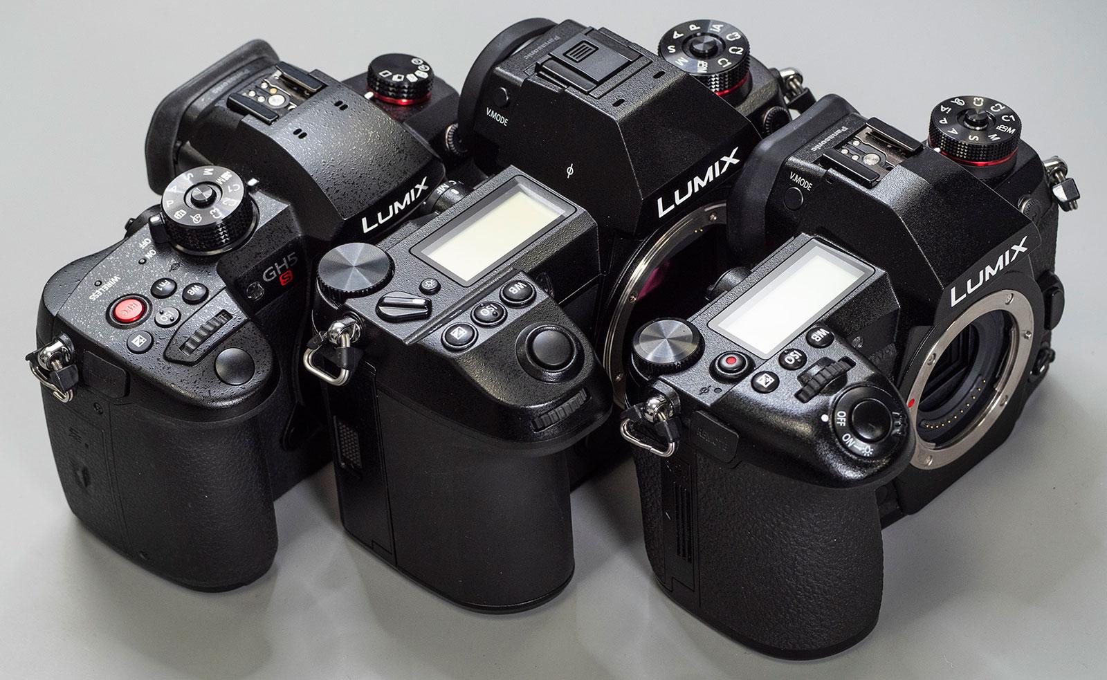 Сравнение габаритов Panasonic Lumix GH5s, S1R и G9