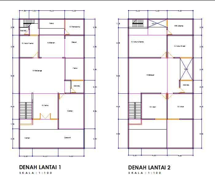 denah rumah ukuran 7x12 satu lantai minimalis 4