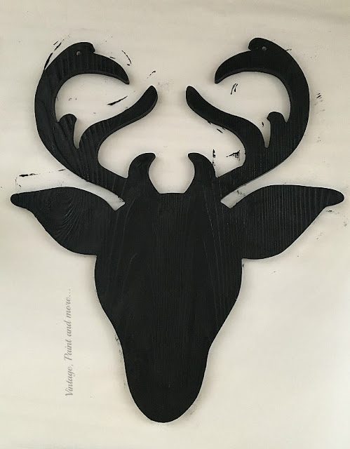 Vintage, Paint and more... a silhouette deer head painted with black chalk paint to make a DIY Farmhouse Christmas Wreath