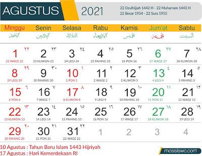 Template Kalender 2021 Agustus